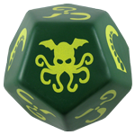 Giant Cthulhu Dice (Dark Green Die w/Yellow Ink) cover