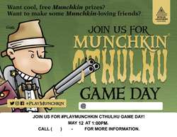Cover for #PlayMunchkin Cthulhu Game Day - flier