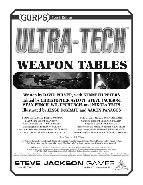 GURPS Ultra-Tech Weapons Tables