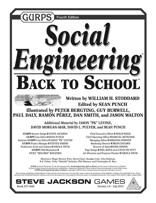 GURPS Social Engineering: Back to School