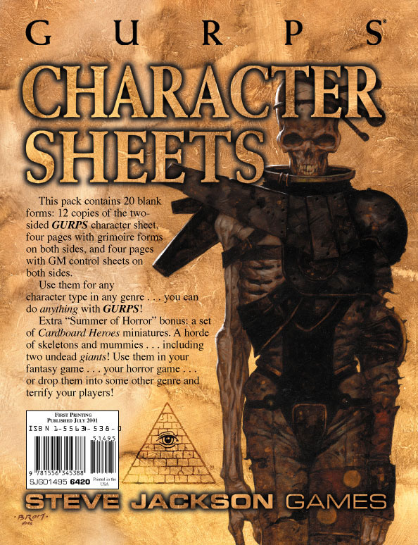 GURPS Character Sheets (Summer of Horror Edition)