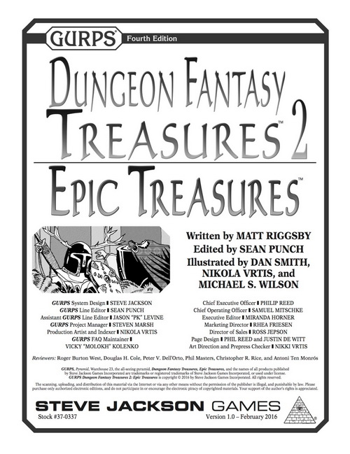 GURPS Dungeon Fantasy Treasures 2: Epic Treasures