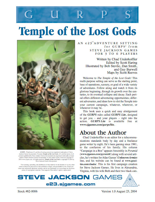 GURPS Temple of the Lost Gods