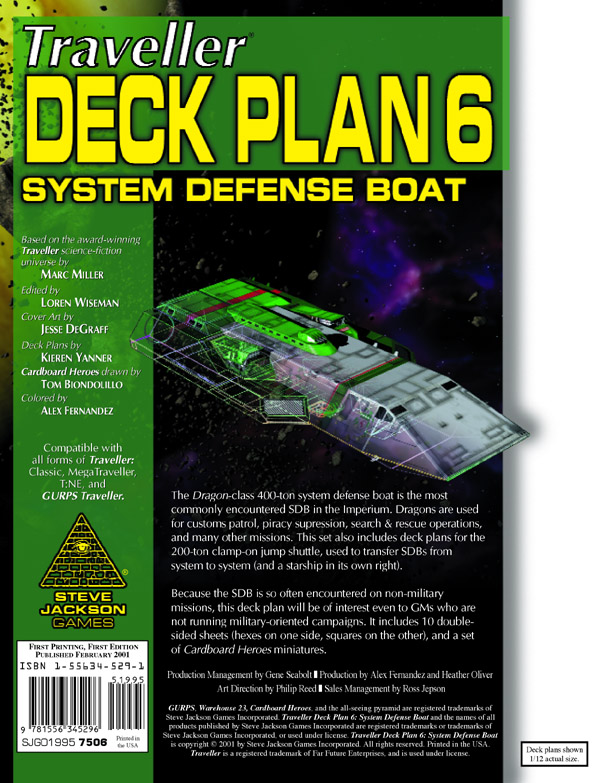 GURPS Traveller Deck Plan 6: Dragon-Class System Defense Boat