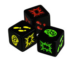 The three types of dice from Zombie dice