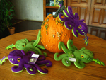 Cthulhu Dice Bags Attacking A Pumpkin