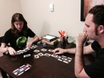 Rhea and Brian playing Car Wars: The Card Game