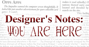 Designer's Notes: You Are Here